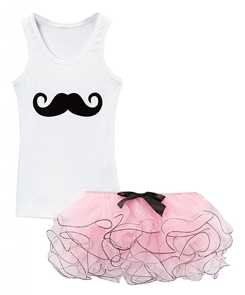 Bubblegum Divas Little Girls Mustache Tank Top Tutu Set