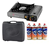 Uniware Portable Single Burner Butane Gas Camping Stove With Black Carrying Case & CRV Butanel Fuel Canisters 4 Pc Set , for Portable Camping Stoves