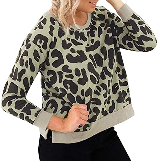 Women Leopard Print Sweatshirt Daoroka Ladies Long Sleeve O-Neck Jumper Pullover Tops Fashion Autumn