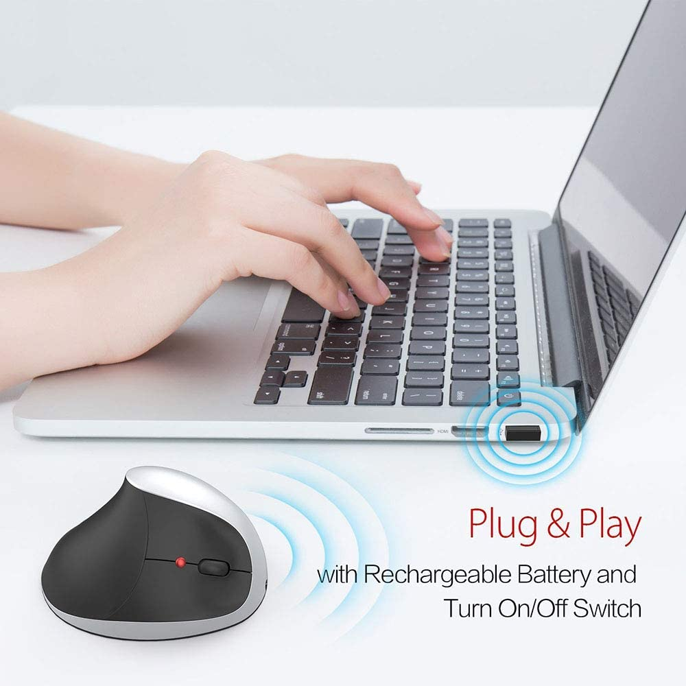 LXYLQ Wireless Mouse 2.4G Vertical Rechargeable Wireless Gaming Mouse 2400Dpi Ergonomic Mouse