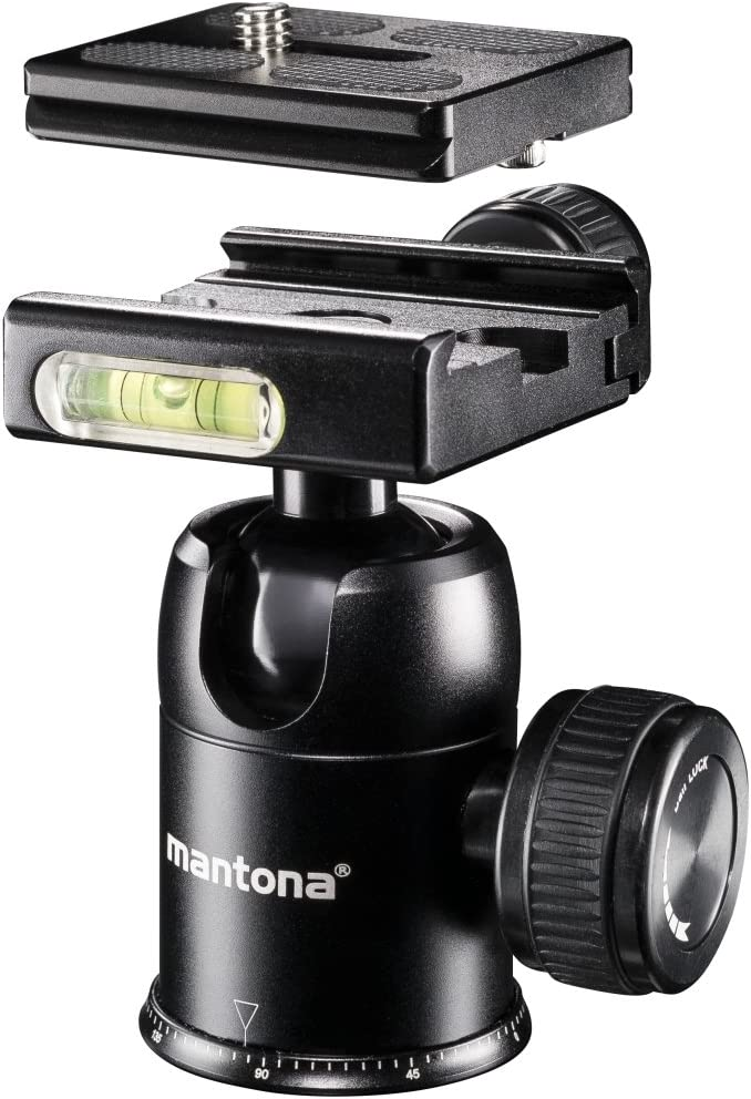 Mantona DSLM Travel Tripod with Spherical Head//Maximum Load 5/kg//Rotating Central Column//Compact Size for Transporting//Suitable for System DSLR Compact Camera