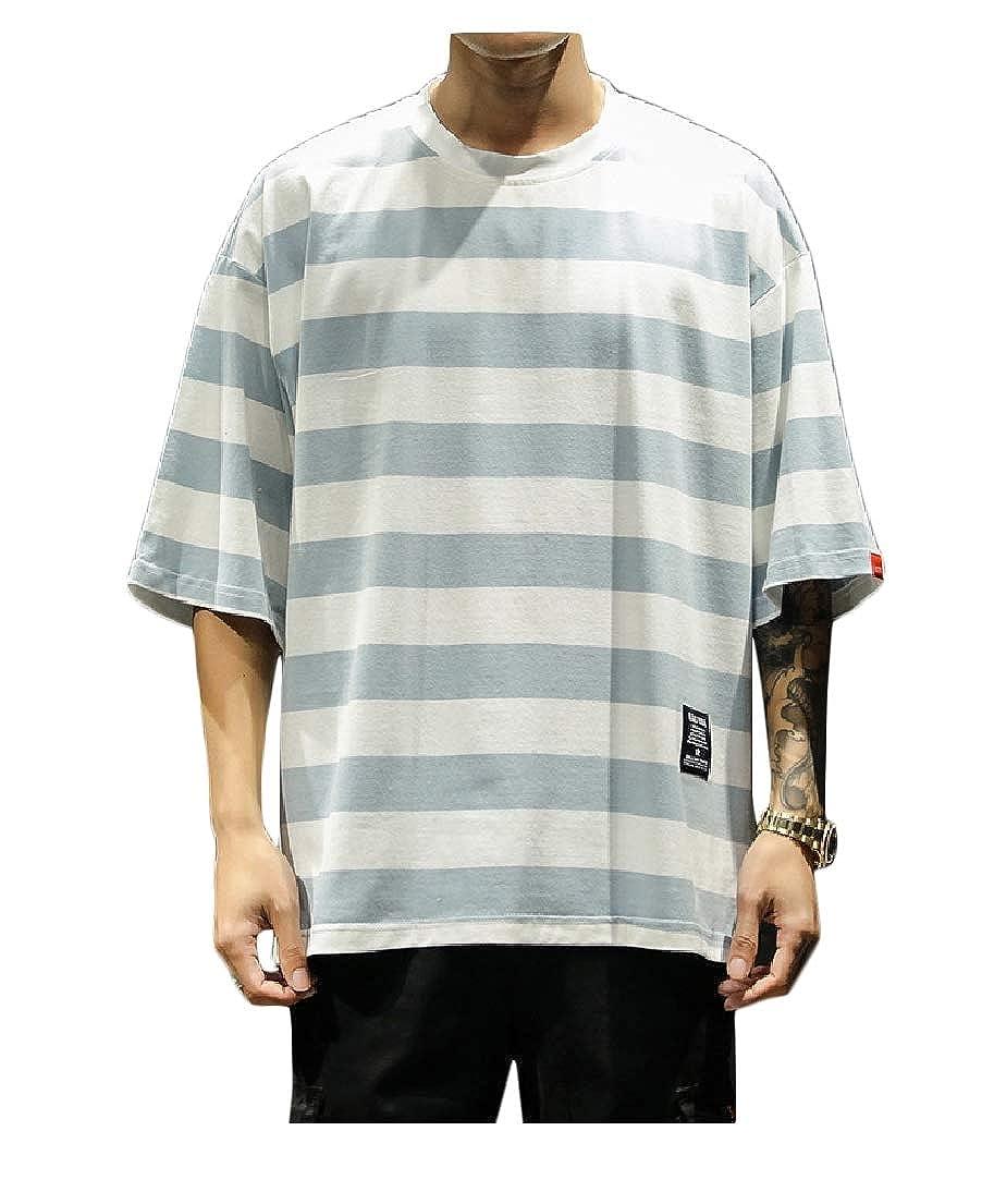 Vska Mens Oversize Short Sleeve Stripes Printed 1//2 Long Sleeve Tees Shirt