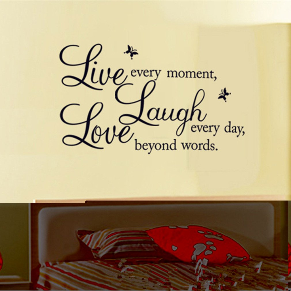 Amazon.com: Removable Vinyl Decal Live Every Moment, Laugh Every ...