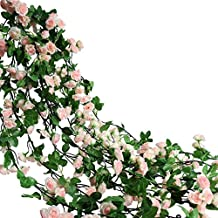 Htmeing 67 Inch Silk Rose Garland Artificial Rose Vine with Green Ivy Leaves For Home Hanging Wedding Decor,Pack of 2 (light pink)