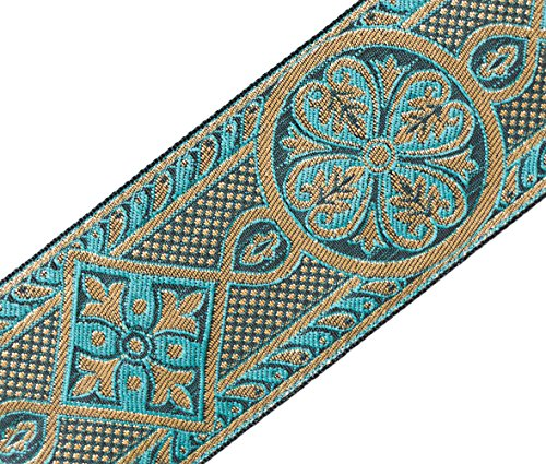 (Gothic Medieval Style Jacquard Trim Turquoise & Gold Vestment Sewing 2 3/8