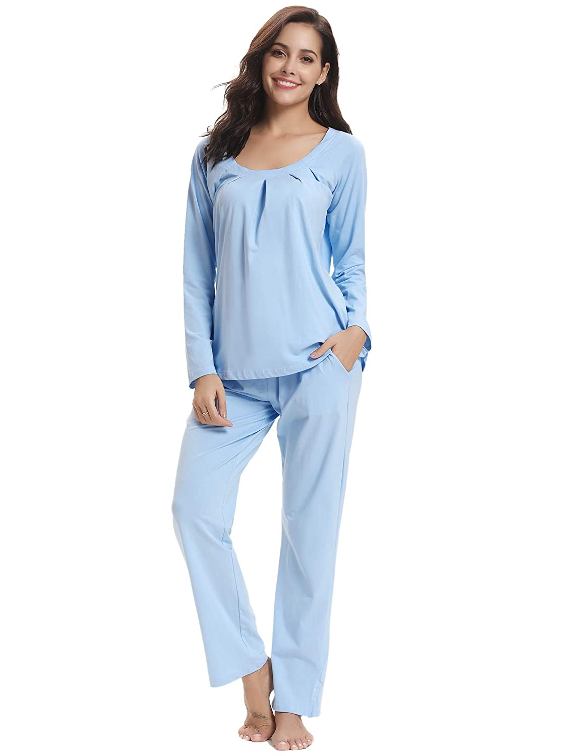 Aibrou Women's Long Pajamas Set, Soft Loungewear Full Length Pure Cotton PJ Set Nightwear Sleepwear AMB00192