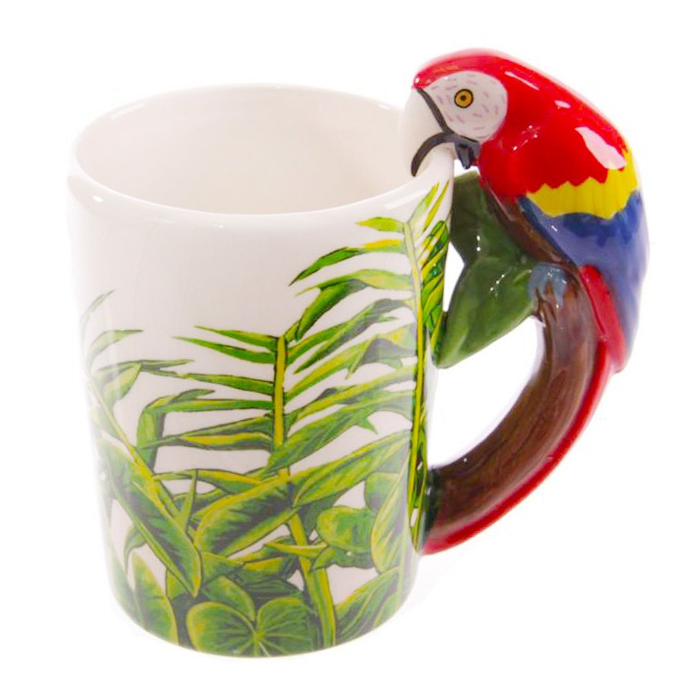 LOHOME 3D Ceramics Coffee Mugs, Animal handle Ceramic Tumbler Friendly Porcelain Cup Hand painted Animal Novelty Gift Cup (14oz) (Parrot)