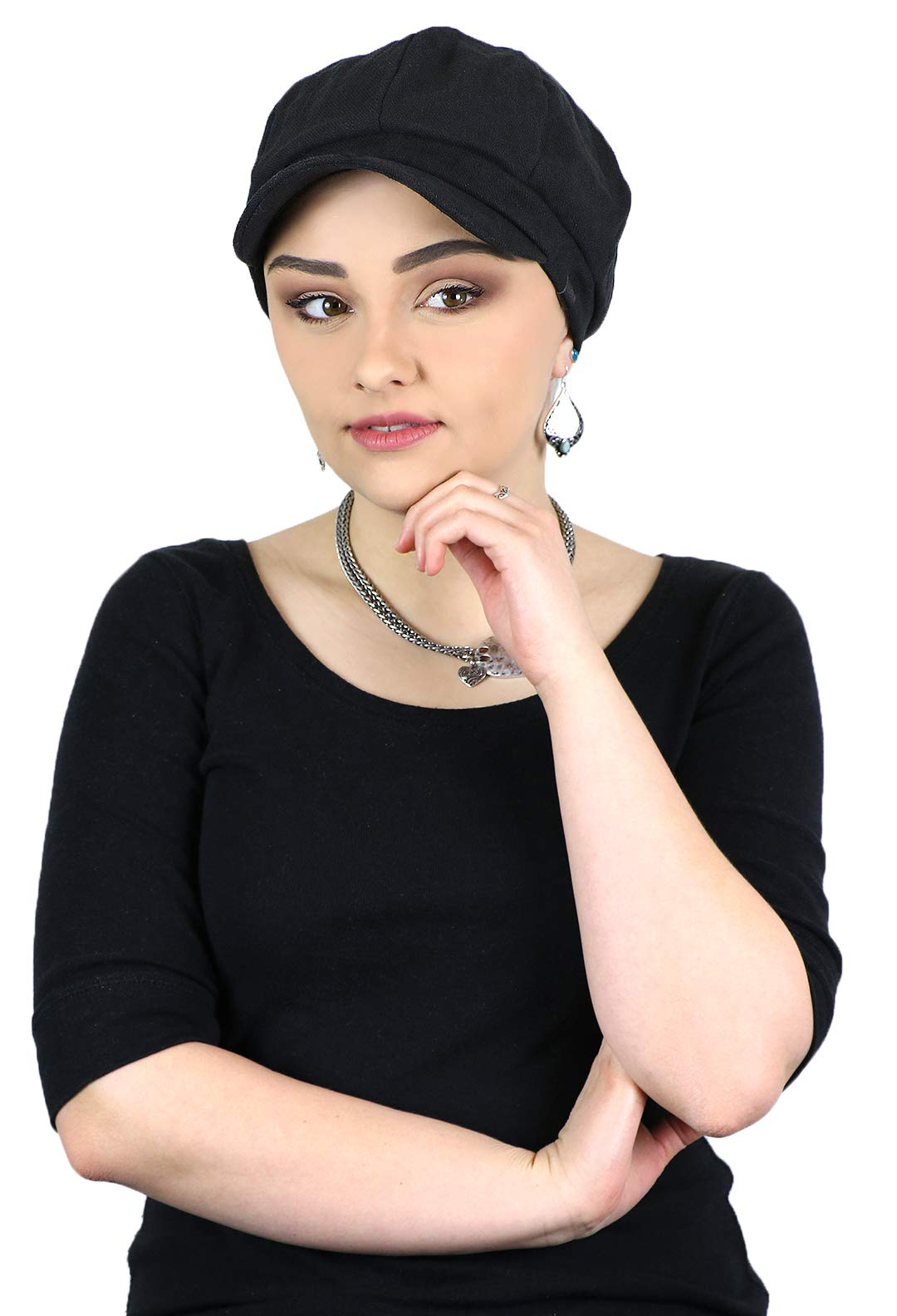 Newsboy Cap for Women Cabbie Gatsby Summer Hats Ladies Chemo Headwear Head Coverings Belfast (Black)