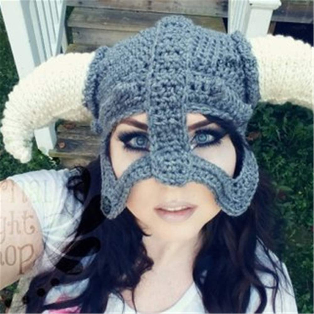 Windproof Beard Ski Mask Hat Handmade Knit Funny Hats Pillager Horned Caps Winter Thermal Knitted Heanie Hat