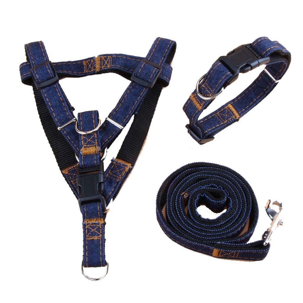 BLACK X-Large BLACK X-Large Denim Material Dog Leash Collar Set Small and Medium Dog Rope Dog Chain (color   Black, Size   XL)
