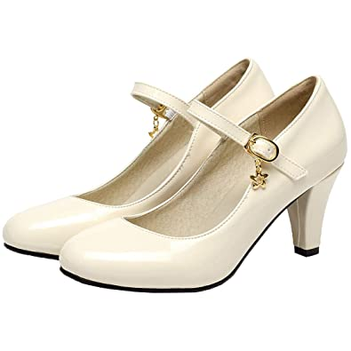 Vitalo Women s Kitten Heel Patent Mary Jane Ankle Strap Mid Heel Pumps  Court Shoes Size 4