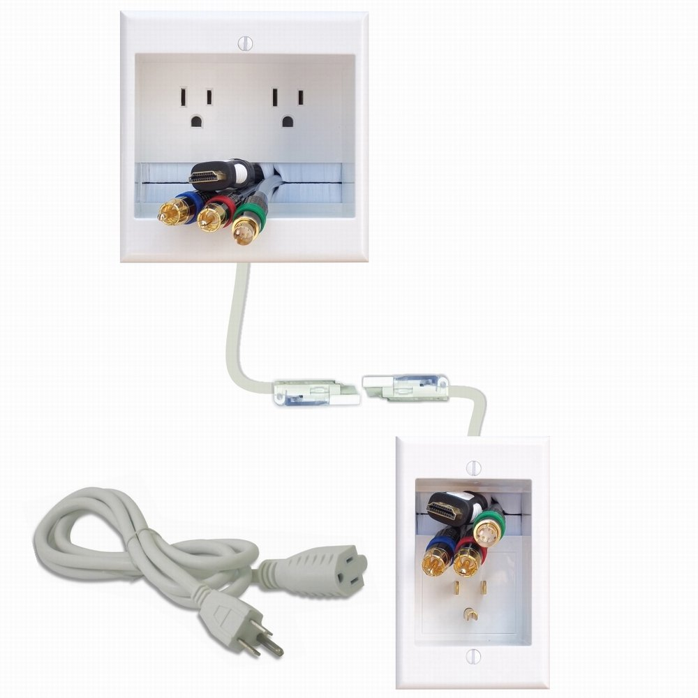 PowerBridge TWO-CK Dual Outlet Recessed In-Wall Cable Management System with PowerConnect for Wall-Mounted Flat Screen LED, LCD, and Plasma TV's by PowerBridge Solutions
