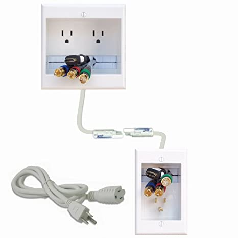 Amazon com: PowerBridge TWO-CK Dual Outlet Recessed In-Wall