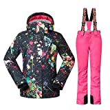 HOTIAN Womens Ski Snowboard Jacket Waterproof Snow Jacket Pants Set Winter Coats