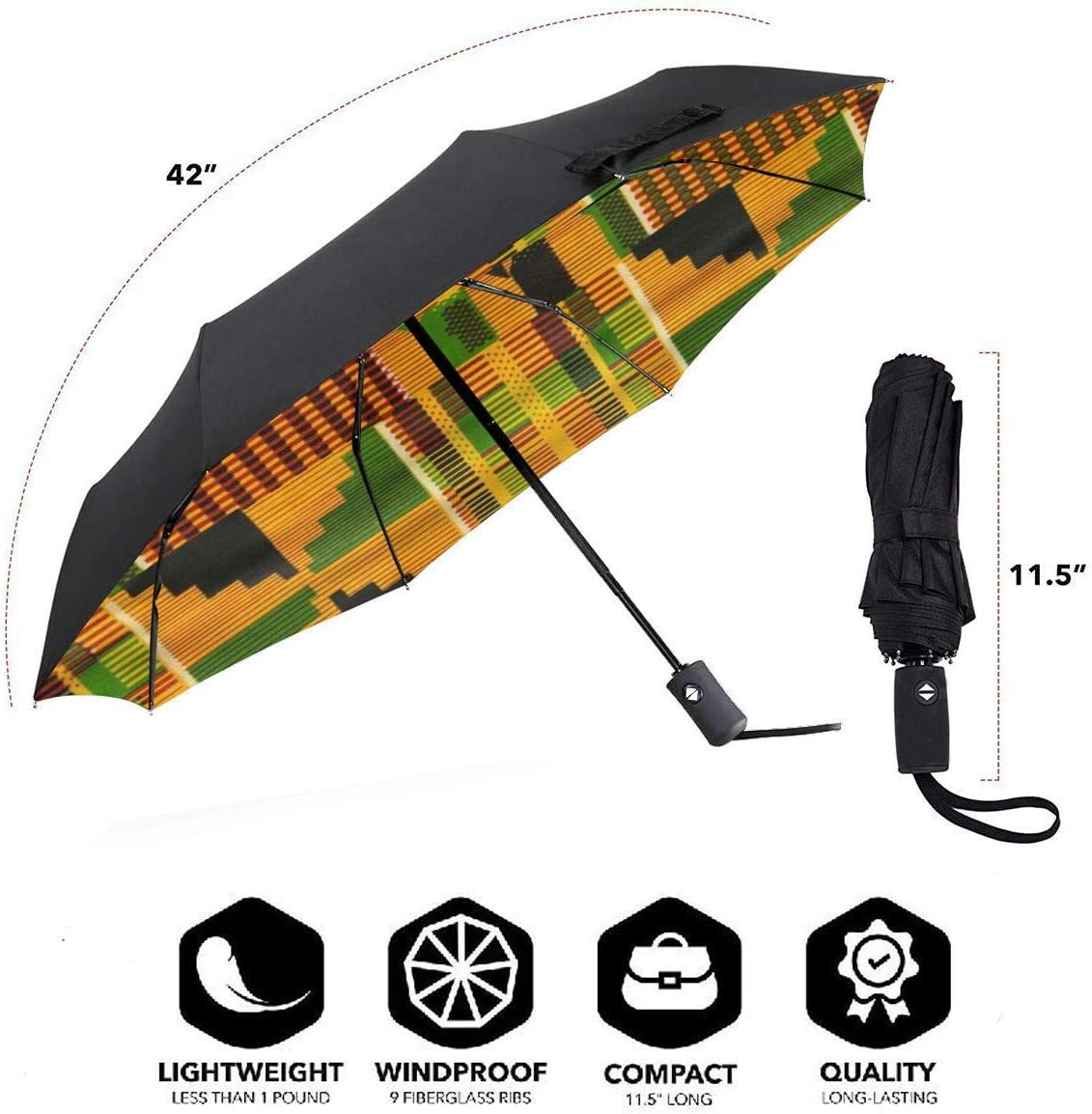 African Theme Automatic Windproof Travel Umbrella Compact Canopy With Black Glue And UV-resistant Coating