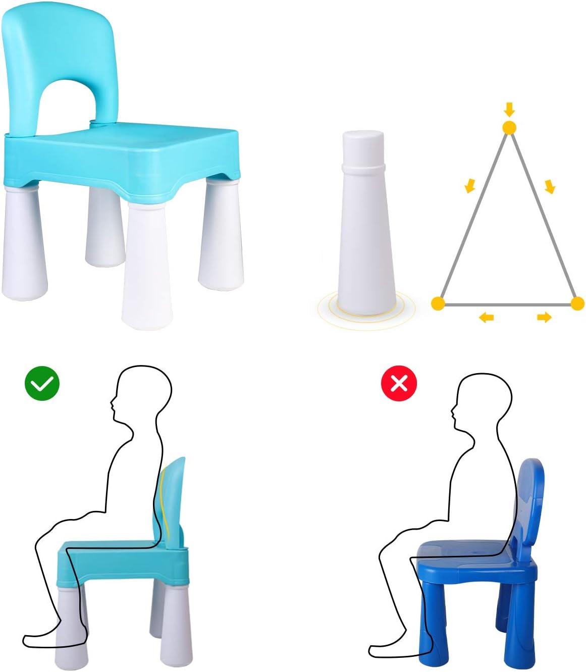 Utilisation /à lInt/érieur ou /à lExt/érieur burgkidz Chaise en Plastique pour Enfants Hauteur du Si/ège de 9,3 Durable et L/ég/ère Bleu Clair