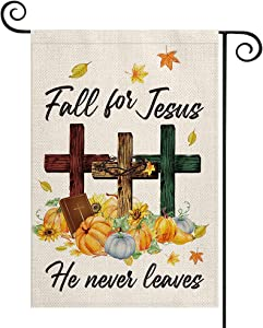 AVOIN colorlife Fall For Jesus Pumpkin Garden Flag Vertical Double Sided He Never leaves, Maple Leaf Bible Mini Flag, Autumn Harvest Thanksgiving Holiday Yard Outdoor Decoration 12.5 x 18 Inch