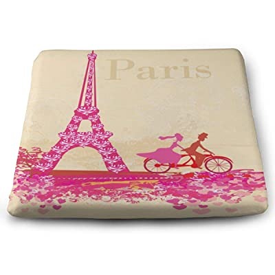 Sanghing Customized Cycling Couple Under The Eiffel Tower in Paris 1.18 X 15 X 13.7 in Cushion, Suitable for Home Office Dining Chair Cushion, Indoor and Outdoor Cushion.: Home & Kitchen