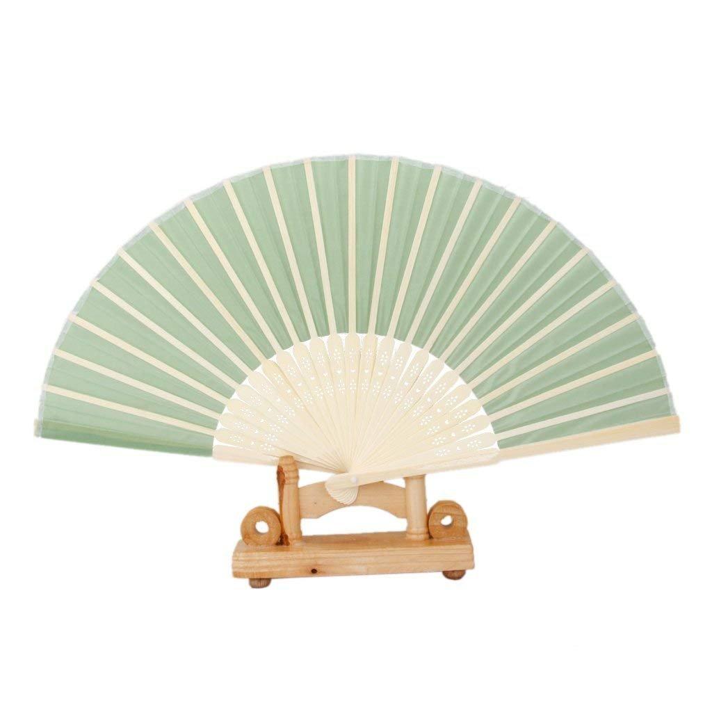 Ventilador Plegable para Mujer Naisidier Fiesta para Boda Regalo abanicos Verdes con Borla abanicos de bamb/ú Huecos Abanico de Mano