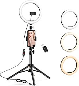 10.2 inch Selfie Ring Light with Tripod Stand & 2 Phone Holders,Anbes Dimmable Led Camera Ringlight for Photography/Makeup/Live Stream Video/YouTube,Compatible with iPhone/Android