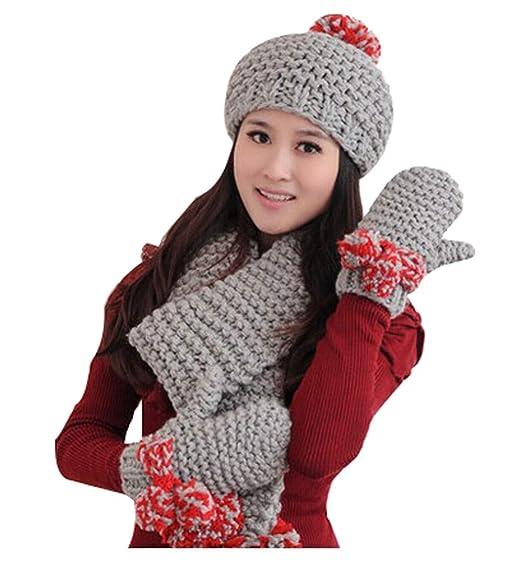 9031525e9c9 Autumn and Winter Women s Wool Hat Thicken Hat Scarf Gloves Set Three-Piece  Suit