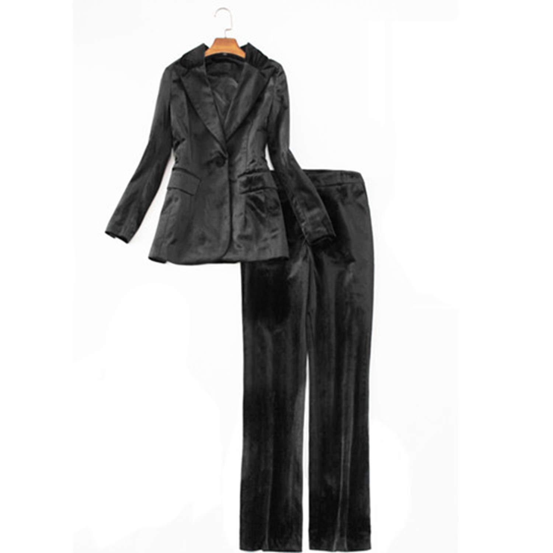 Black Velvet Pants Suit for Women Formal Business Wear Office Ladies Autumn Winter Jacket+ Trousers Female Uniform Work Sets