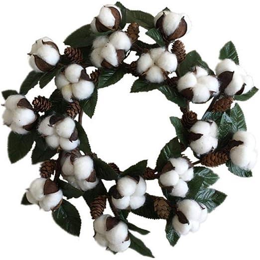 LQDRD Guirnalda de flores de algodón seco para puerta, decoración ...