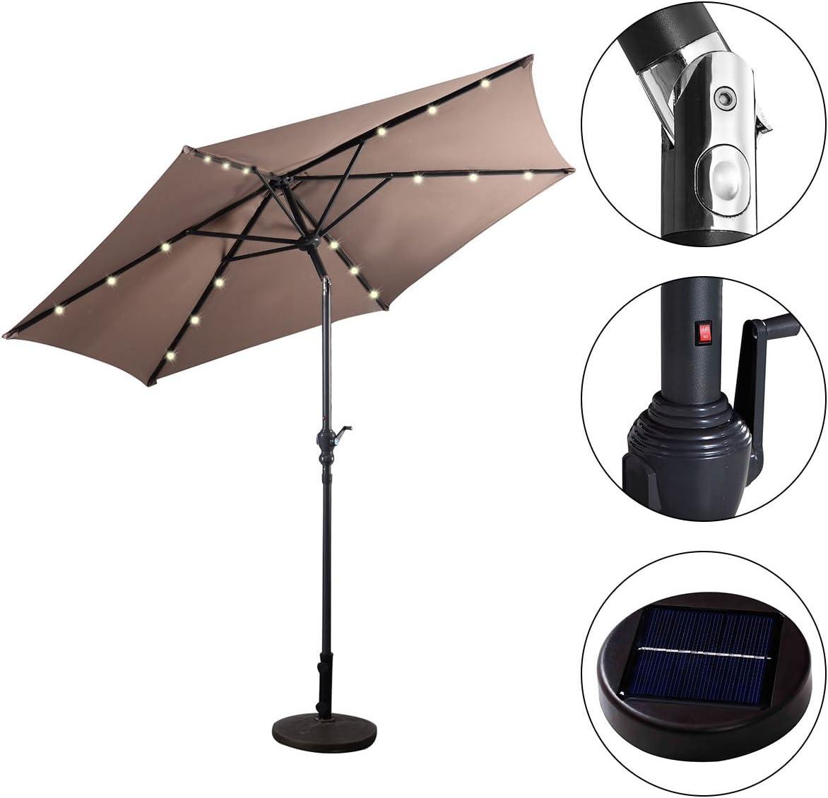 Parasole da Esterno Ombrello da Spiaggia /Ø270 cm Marrone COSTWAY Ombrellone con Luci LED da Giardino