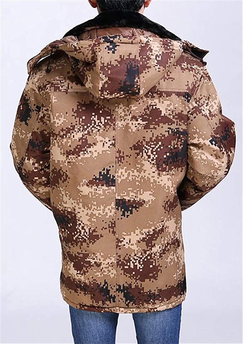 Pandapang Mens Quilted Padded Camo Winter Plus Size Hooded Parka Coat Jacket