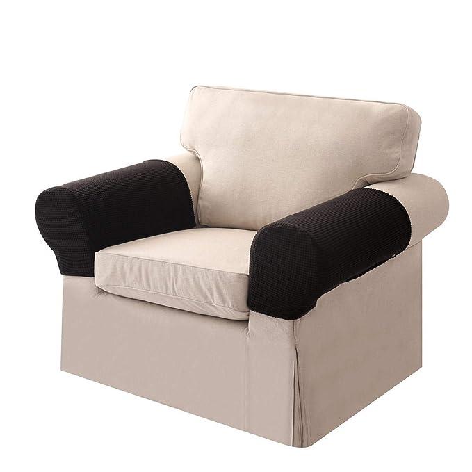 Umiwe Fundas elásticos de reposabrazos y poliéster de spandex para sillones, sofá y silla Negro