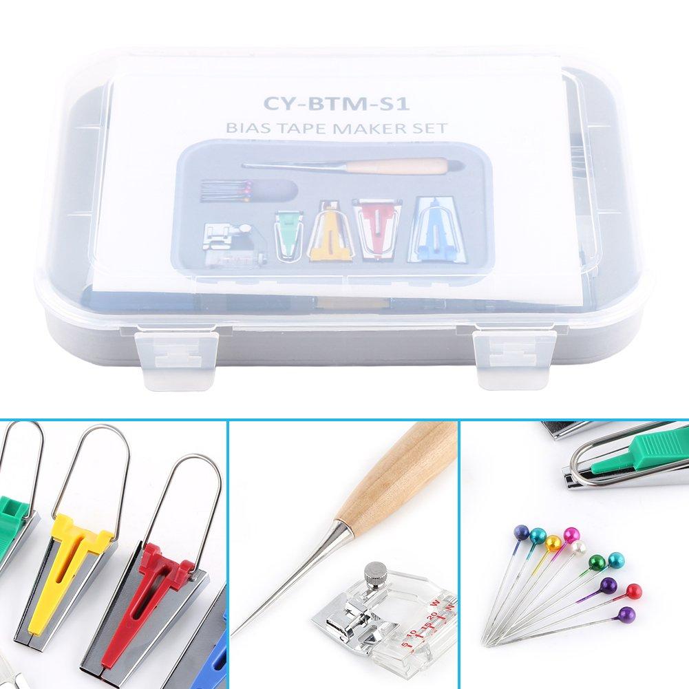 6pcs Bias Tape Maker Kit Fabric Bias Tape Maker Tool 6//12//18//25mm Binding Tool Guide Strip Sewing Quilting