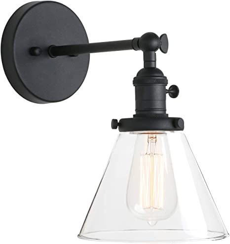 Pathson Industrial Wall Sconce With Switch Indoor Wall Lighting Fixtures With Funnel Clear Glass Shade Vintage Vanity Lamps For Bathroom Lighting Amazon Com