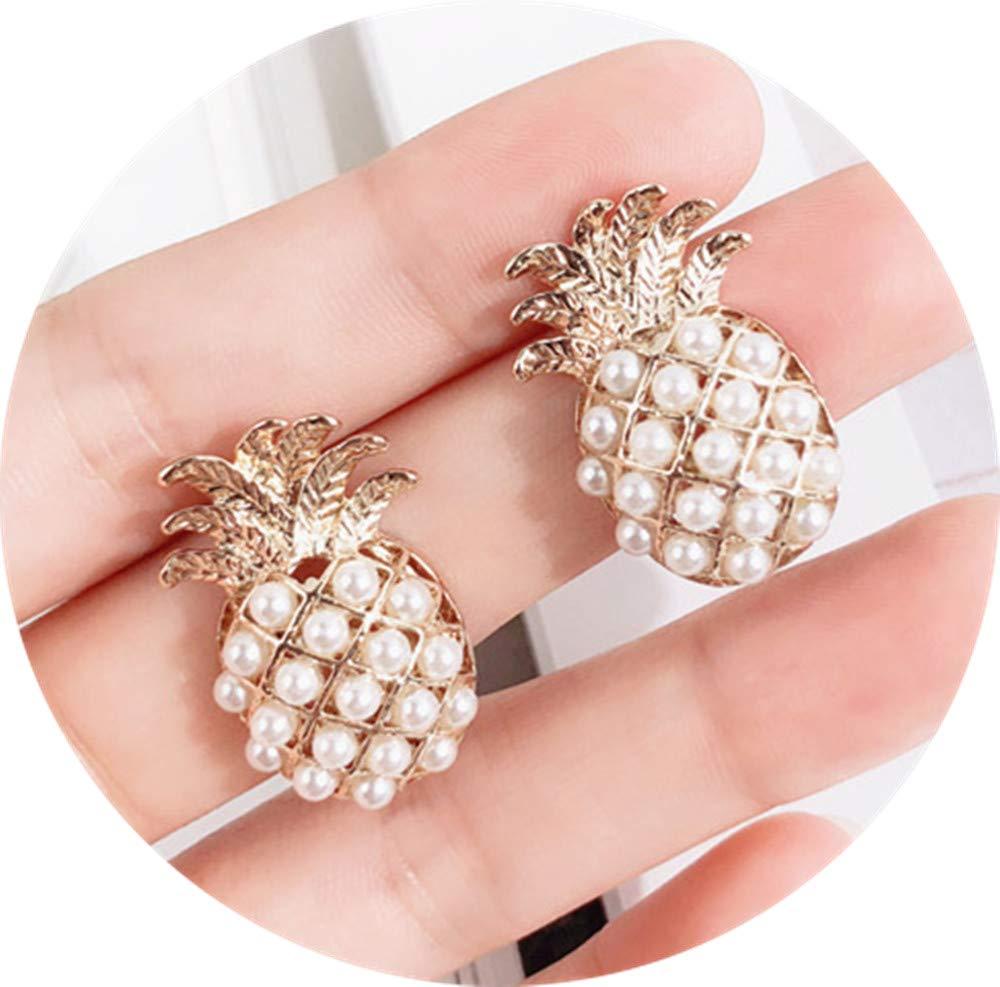 TOKO Pineapple Pearl Gold Stud Earring Women Girls