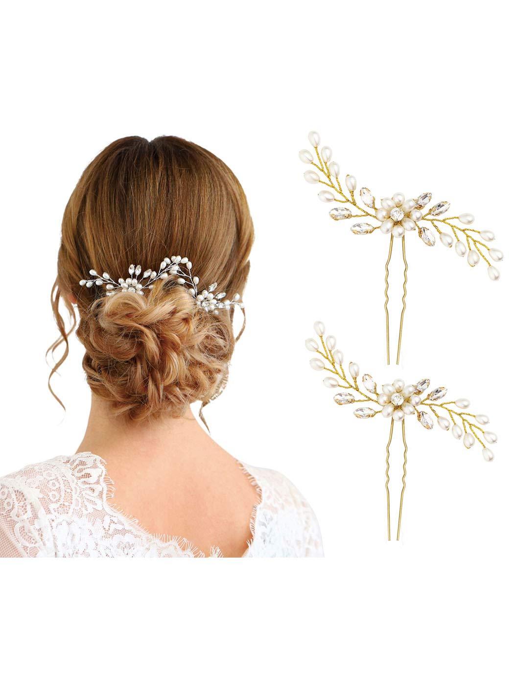 13aa1fd8d4 Amazon.com: Unicra Bride Wedding Pearl Hair Pins Wedding Bridal Hair ...