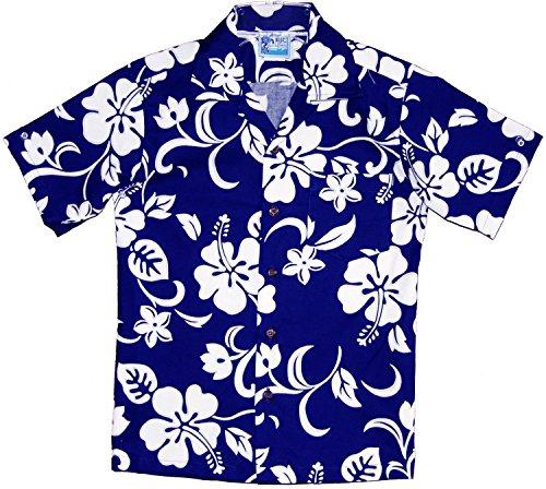 Hawaiian Shirt Hibiscus (RJC Boy's Classic Hibiscus Hawaiian Shirt Royal Blue 8)