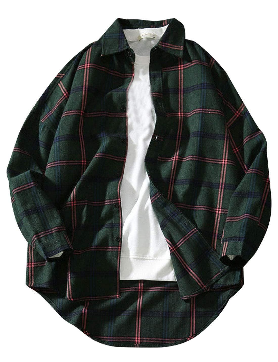Omoone Mens Button Up Long Sleeve Hi-Low Hem Casual Loose Plaid Shirt Jacket