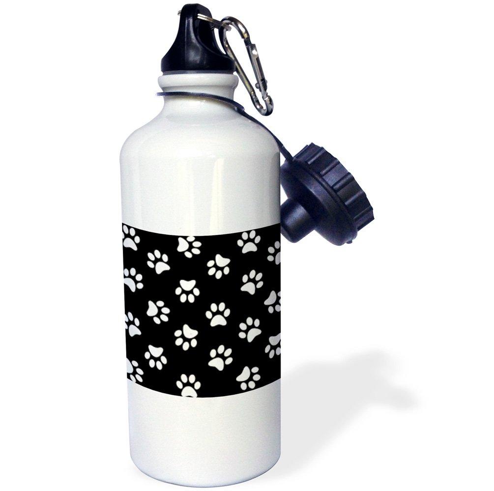 3dRose wb_161522_1''Black and white Paw print pattern-pawprints-cute cartoon animal eg dog or cat footprints'' Sports Water Bottle, 21 oz, White