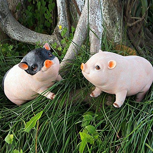 Danmu One Pair of Polyresin Outdoor Indoor Garden Patio Piglet Statue Pig Statue 10.23
