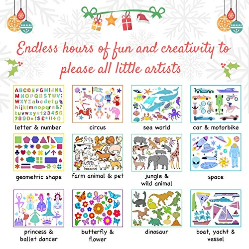 Stencils and Drawing Art Set for Kids - Educational Toys to Enhance Children's Creativity & Travel Activities Kit - Loved by Parents Platinium Award 2018 - Ideal Gift for Boys & Girls