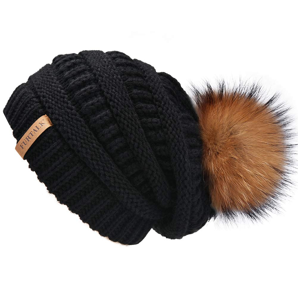 Winter Real Fur Pom Beanie Hat Warm Oversized Chunky Cable Knit Slouch  Beanie Hats Women A003 2b101b42bad3