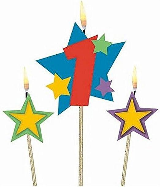 Amscan Geburtstagskerzen 1 Sterne 3 St/ück