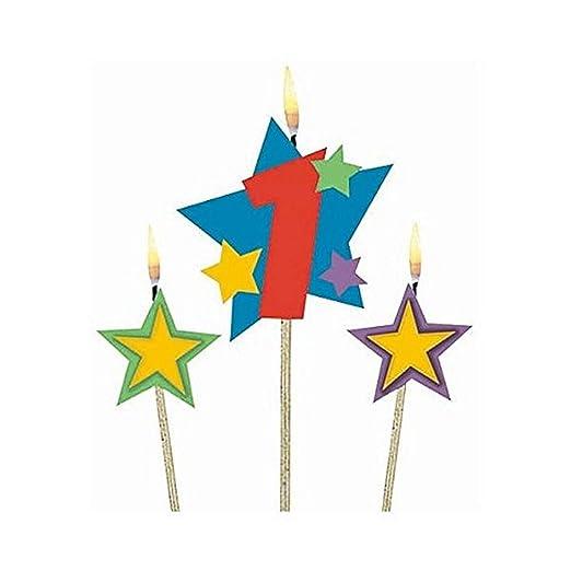 amscan International – Velas de cumpleaños (en Palos 1 Estrellas, Pack de 3