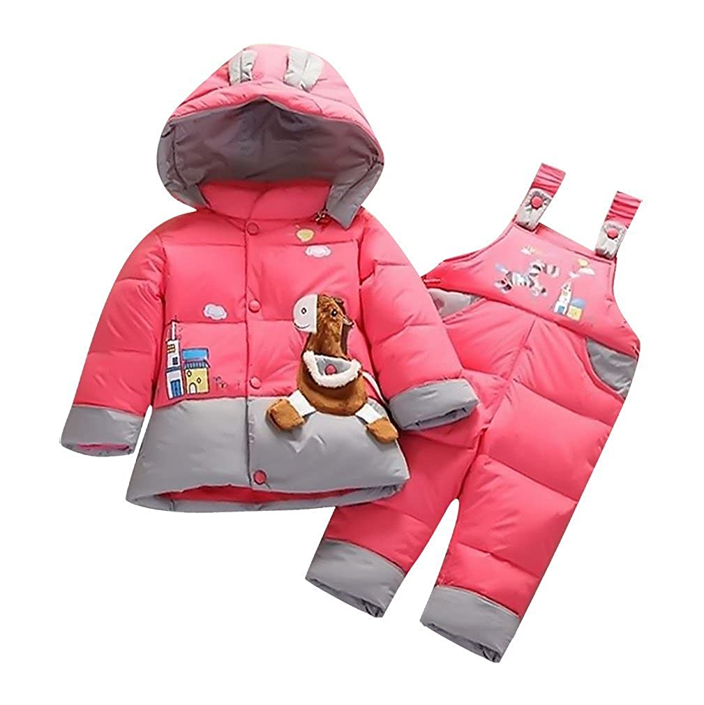 Boy Snowsuit Set Lightweight Warm Quilted Zipped Hooded Cute Donkey Sweety