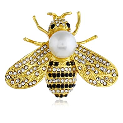 42dd94c84d4 Amazon.com: xinmiltd Fashion Bee Wasp Rhinestone Faux Pearl Collar Brooch  Pin Clothes Scarf Jewelry: Jewelry