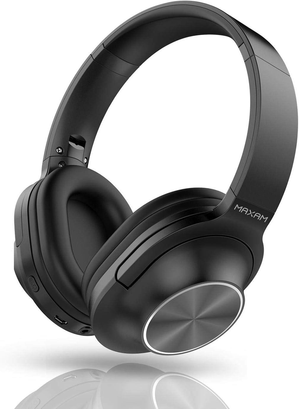 Maxam Auriculares de Diadema Bluetooth 5,0 Cascos Inalámbricos, Plegables, Cancelación de Ruido, Micrófono Incorporado. Color Negro