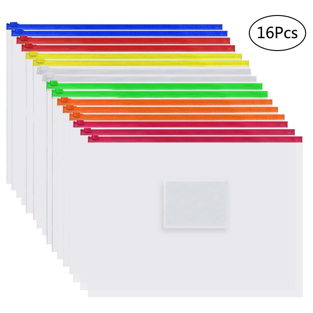 EOOUT 16pcs Plastic Poly Zip Envelope File Folder Bags,Letter Size,7 Color