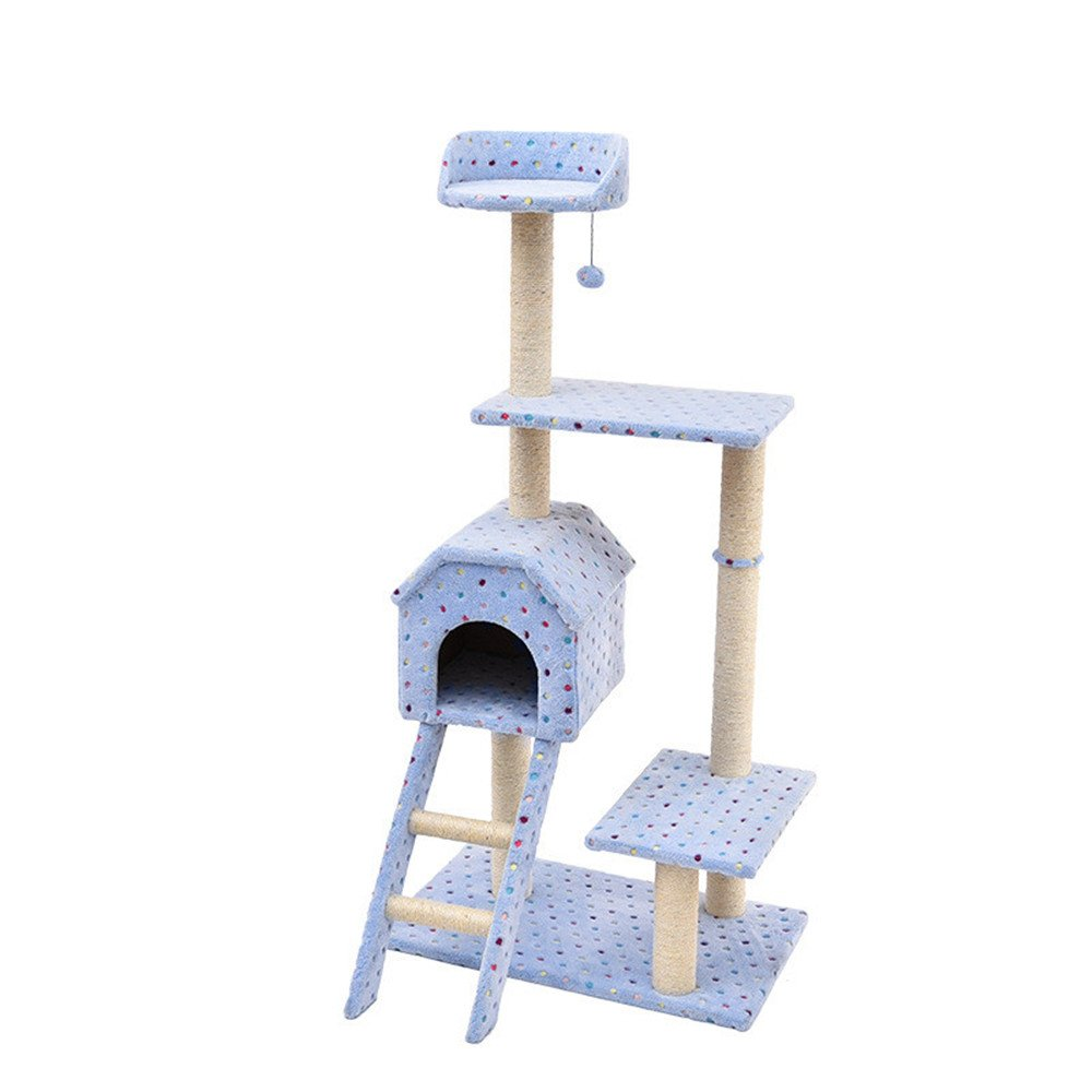 bluee Sisal Cat Tree Stable Structure Climbing Frame Nest Toy Cat Scratch Board Cat Jumping Table Pet Supplies (color   bluee)