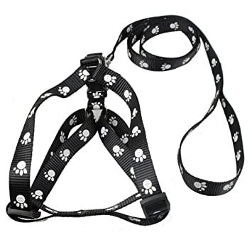 Amazon Com Soundsbeauty Nylon Dog Pet Harness Leash Set Paw Print