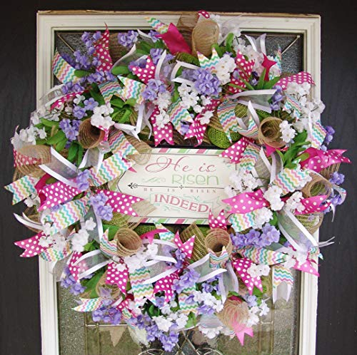 XL He Is Risen Indeed! Stunning Designer Religious Pink and Burlap Easter Deco Mesh Front Door Wreath, Floral Spring Farmhouse Country Rustic (Ideas Door Wreath Easter)