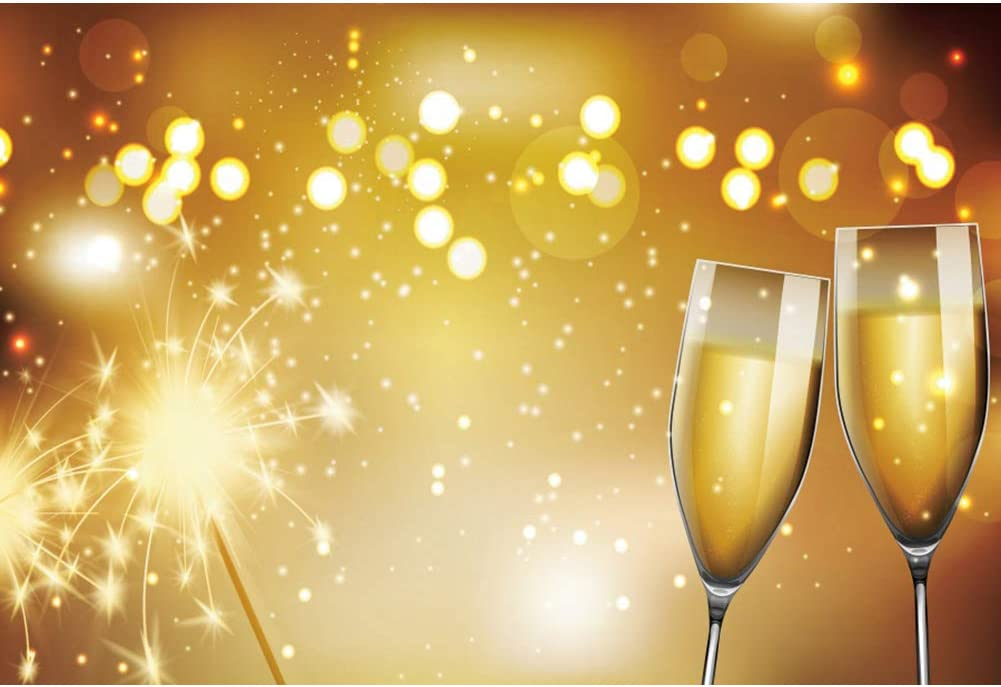 YongFoto 12x10ft Happy New Year Backdrop Fairy Rod Fireworks Champagne Wine Glass Bokeh Dots Halos Photography Background Home Decor Christmas Eve Party Winter Festival Portrait Photo Studio
